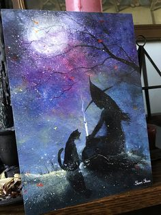 One Art Print from my Original Painting Cat Victorian Witchcraft Full Moon Witch Halloween Gothic Folk Terri Foss Fall Canvas Painting, Witch Painting, Moon Painting, Witch Art, Halloween Canvas, Halloween Painting, Halloween Crafts, Halloween Witches, Halloween Pictures