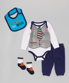 Look at this Nûby Blue & White 'Daddy's Little Man' Bodysuit Set - Infant on #zulily today!