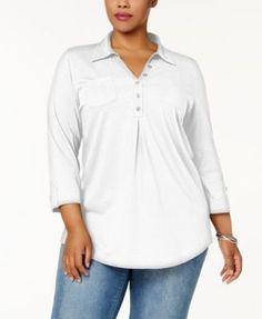 Karen Scott Plus Size Cotton Polo-Collar Henley Top, Created for Macy's - White 3X