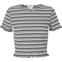 Miss Selfridge PETITE Stripe Lettuce T-Shirt ($27) ❤ liked on Polyvore featuring tops, t-shirts, assorted, petite, white t shirt, miss selfridge tops, stripe t shirt, stripe tee and white striped t shirt