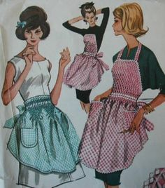 Vintage McCall's Apron Pattern 6664 Misses' Checked Gingham Smocked Aprons RARE | eBay