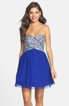 Free shipping and returns on As U Wish Strapless Gem Bodice Dress (Juniors) at Nordstrom.com. A strapless bejeweled bodice finished with a back bow closure styles a fit and flare dress fashioned from ultra-light fabric.