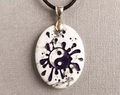 Purple Yin Yang  Engraved Stone Pendant  by CreativeArtandSoul, $28.00