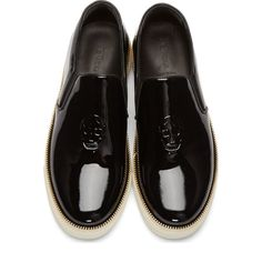 Alexander McQueen Black Patent Leather Zipper Trim Slip-On Shoes Chaussures  Hommes 0ce507149b