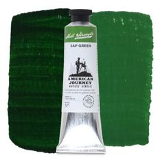 American Journey Artists' Watercolor, Sap Green is a bright mid-range green with a yellow and orange under-tones that is similar to Olive Green. This green is ideal for the landscape and seascape palettes with a masstone like dark, wet grass and when used in glazes it reveals fiery undertones.  Available in a 60 ml. tube. #ArtSupplies #AcrylicPainting #Acrylic