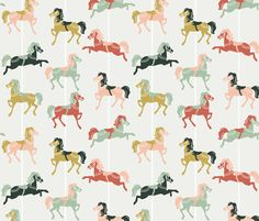 Merry Horses fabric by cleverthursday on Spoonflower - custom fabric