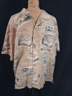 Batik Bay Washable Silk Men's XL Hawaiian Camp Vintage look post cards  #BatikBay #Hawaiian