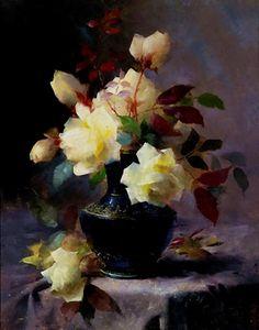Yellow Roses - Mortelmans, Frans - Impressionism - Oil on canvas ....jpg (707×900)