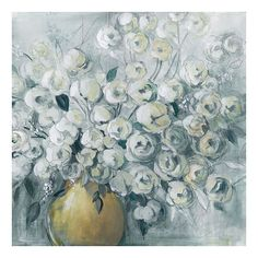Cultivated Grey Floral Canvas Wall Art, Light Blue