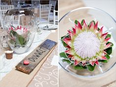 Proteas in a Jar/Vase is a stunning yet simple idea for table decorations. Why not try a King Protea for the centre piece with some smaller proteas or blushing brides around it. Wedding Table Centres, Wedding Arrangements, Wedding Table Centerpieces, Flower Centerpieces, Wedding Decorations, Table Arrangements, Floral Arrangements, Protea Wedding, White Wedding Bouquets