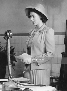 Princess Elizabeth addressing an assembly of the Governors Court at the Queen Elizabeth Hospital for Children as their President, her first solo engagement. May 25, 1944