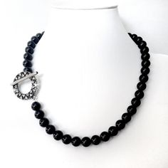 Black Necklace with Rhinestone Toggle  Chunky Black by GetNoticed, $28.00