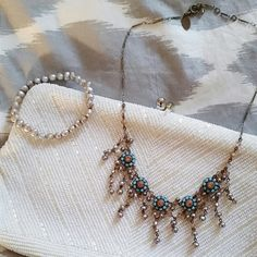 Swarovski crystal and pearl necklace Lovely, delicate, turquoise and gold Swarovski crystal and pearl choker. Liz Palacios Jewelry Necklaces