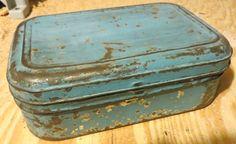 Vintage Metal Blue jewelry tool box.