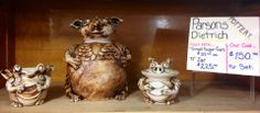 Parsons Dietrich Pottery.  Cookie Jar, Sugar Bowl and Creamer.