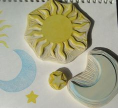 Sun, Moon, Star - Hand Carved Rubber Stamp Idea