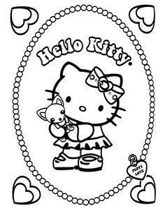 Hello Kitty coloring page Preschool Coloring Pages, Coloring For Kids, Adult Coloring Pages, Coloring Books, Coloring Sheets, Hello Kitty Colouring Pages, Doll Drawing, Hello Kitty Tattoos, Hello Kitty Pictures