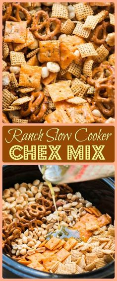 Ranch Slow Cooker Chex Mix Every party needs something sweet, something salty, something light and something indulgent. This ranch slow cooker chex mix is both salty and addicting! Trail Mix Recipes, Snack Mix Recipes, Appetizer Recipes, Snack Mixes, Party Appetizers, Chex Recipes, Avacado Appetizers, Prociutto Appetizers, Mexican Appetizers