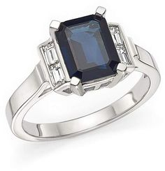Bloomingdale's Sapphire and Baguette Diamond Ring in 14K White Gold - 100% Exclusive