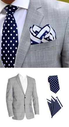 Shop The Look - Men's Fashion - Grey Jacket with Navy Dot Necktie