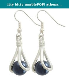 itty bitty marblePOP! athena earrings French Hook. A cute and fun little pendant that comes with 9 itty bitty (10mm) marbles that can be interchanged in the pendant. Comes strung on a silver clad fine ball chain. Packaged in a gift box with instructions.
