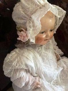 Vintage doll - sweet dress & bonnet