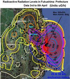 Atmospheric Radioactive Radiation Maps  Fukishima Prefecture Close-Up