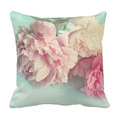 Shabby chic pink peonies throw pillow. $32.95