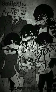 Smile!!! But your reality is a hell (That's what it says took me a while to read it) Creepypasta Proxy, Creepypasta Characters, Creepy Stories, Horror Stories, Creepy Pasta Family, Eyeless Jack, Laughing Jack, Jeff The Killer, Spooky Scary
