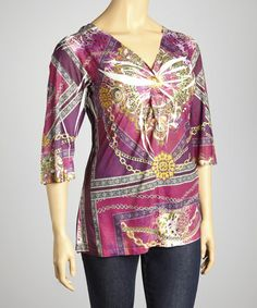 Take a look at this Burgundy Status V-Neck Top - Plus by Sienna Rose on #zulily today!