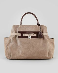 Padlock Satchel Bag, Dark Taupe by Brunello Cucinelli at Neiman Marcus. $2,275