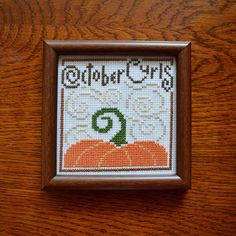 Items similar to October calendar - Decorative calendar - Autumn decorations - Fall decor - Completed cross stitch - Pumpkin sign - Cross stitch picture on Etsy