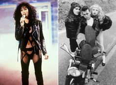 (L) Cher, 1987. (R) Johnny Depp, Traci Lords and Ricki Lake in Cry Babe, 1990.