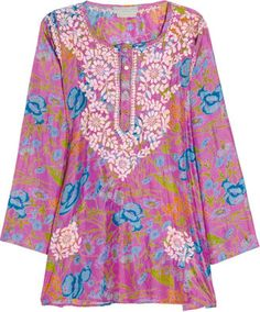 ShopStyle: Leaves of Grass Embroidered floral-print silk tunic