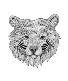 Zentangle mandala bear