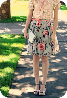 Floral print mint green skirt and blush lace top