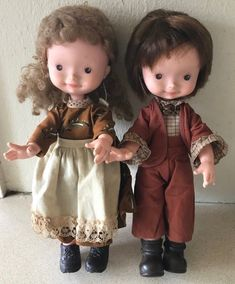 Vintage Pair Of FIBA Dolls Boy And Girl Marked Fiba VO7   8.99+3.5 Vintage Dolls, Boy Or Girl, Pairs, Boys, Clothes, Baby Boys, Outfits, Clothing, Antique Dolls