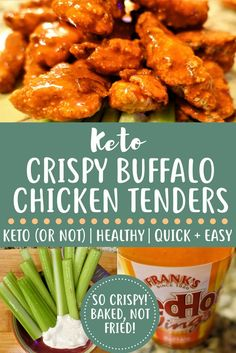 Crispy Buffalo Chicken Tenders are and baked not fried! Quick and easy dinner, whether you're keto, LCHF, or just want some damn good buffalo wings (tenders)! Low Carb Keto, Low Carb Recipes, Diet Recipes, Cooking Recipes, Healthy Recipes, Healthy Breakfasts, Thai Recipes, Boneless Chicken Wings, Buffalo Chicken Tenders