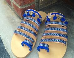 "30% OFF SALE Handmade Greek Sandals, women's sandals, boho sandals, toe loop sandals, hippie sandals, decorated sandals, ethnic sandals, ""Sa"