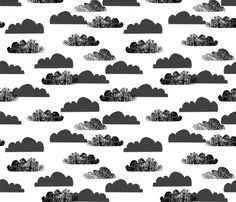 Clouds - Black on White by Andrea Lauren fabric by andrea_lauren on Spoonflower - custom fabric