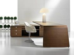 L-shaped wood veneer executive desk with drawers SESTANTE | Wood veneer office desk - IFT
