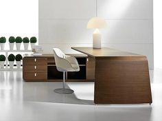 L-shaped wood veneer executive desk with drawers SESTANTE | Wood veneer office desk - IFT