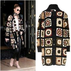 January 2016 - Gigi Hadid was spotted leaving her hotel in Paris, France today wearing this very cozy Rosetta Getty Mixed Media Granny Square Cardigan from the Fall/Winter 2015 Collection. Cardigan Au Crochet, Crochet Coat, Crochet Jacket, Crochet Clothes, Boho Crochet, Crochet Granny, Granny Square Sweater, Cardigan Design, Crochet Square Patterns