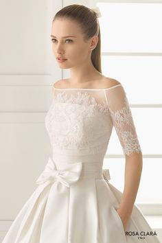 rosa clara two spring 2016 strapless straight across pleated bodice pocketd silky a line ball gown wedding dress royal train with lace top (encanto) mv