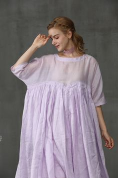 Maxi linen dress in lilac aqua and yellow maxi wedding Sexy Dresses, Linen Dresses, How To Dress For A Wedding, Maxi Dress Wedding, Western Wedding Dresses, Bridal Dresses, Latest Fashion For Women, Trendy Fashion, Yellow Maxi