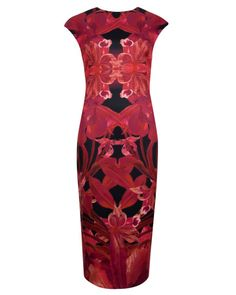 Jungle orchid print dress - Maroon   She Who Dares Wins   Ted Baker