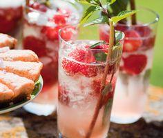 En läskande god fördrink till sommarens trädgårdsfest. Med smak av rabarber och fläder är detta en perfekt sommardrink. Servera i höga glas med is och dekorera med jordgubbar och myntablad.