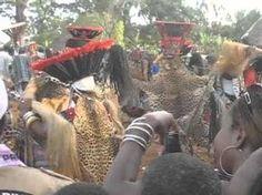 Zheu Dance, showing the Aka elephant mask. Bamileke (Cameroon, western grassfields region). c. 19th to 20th century C.E. Wood, woven raffia, cloth, and beads.