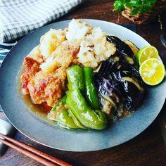 ダメよダメダメ!と、さっぱり染みじゅわ~♪鶏肉と茄子のさっとおろし煮♪   しゃなママオフィシャルブログ「しゃなママとだんご3兄弟の甘いもの日記」Powered by Ameba Wine Recipes, Asian Recipes, Cooking Recipes, Healthy Recipes, Cafe Food, Food Menu, Japanese Dishes, Japanese Food, Salad Bar
