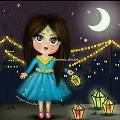 DesertRose,;,❤,;, Islamic Images, Islamic Pictures, Princess Cartoon, Girl Cartoon, Clay Crafts, Diy And Crafts, Bebe 1 An, Free Vector Patterns, Ramadan Cards